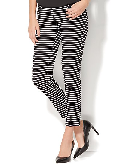The Audrey Ankle Pant - Black & White Stripe - New York & Company