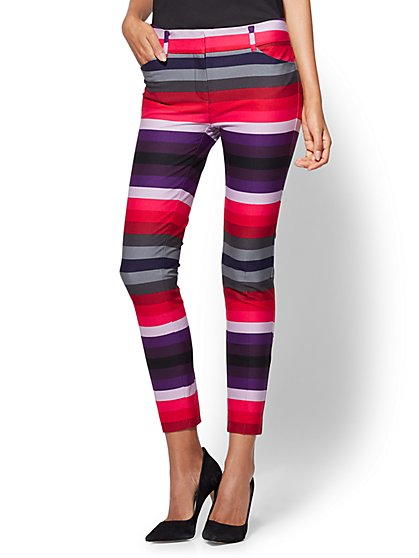 The Audrey Ankle Pant - Multicolor Stripe  - New York & Company