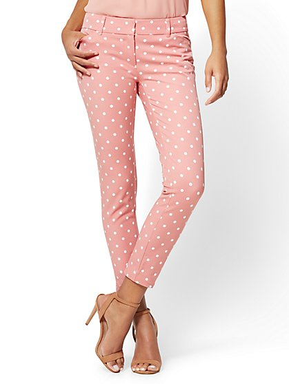 The Audrey Ankle Pant - Rose - Polka Dot - Petite - New York & Company