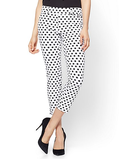 The Audrey Pant - Cropped Slim Leg - 4-Way Stretch - Dot Print - Tall - New York & Company