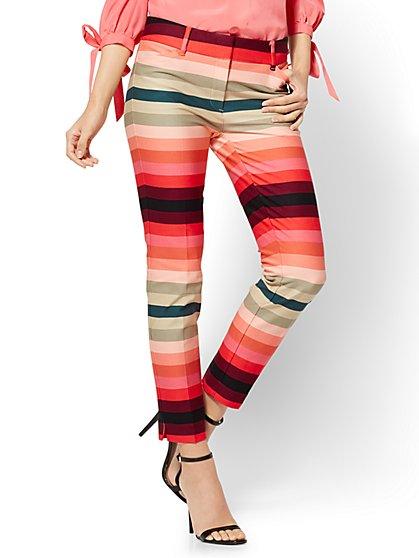 The Audrey Pant - Cropped Slim Leg - Rainbow Stripe - Tall - New York & Company