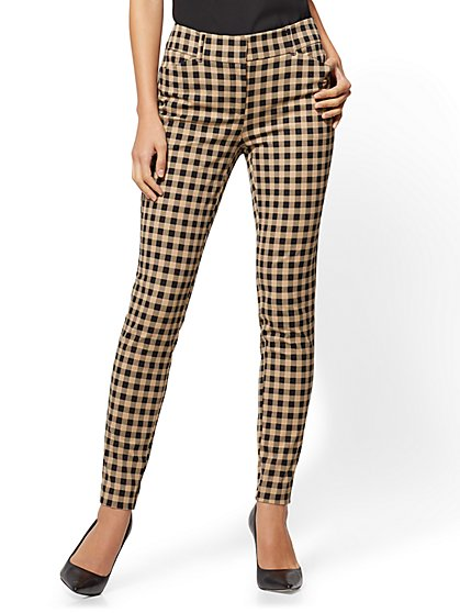 The Audrey Pant - Curvy - Camel Check Print - Petite - New York & Company