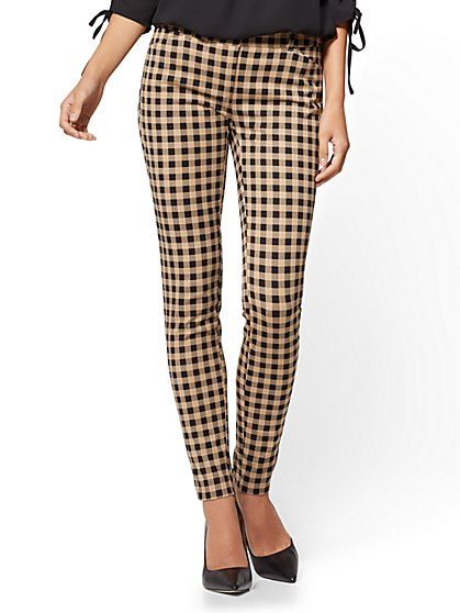 The Audrey Pant - Slim Leg - Camel Check Print - New York & Company