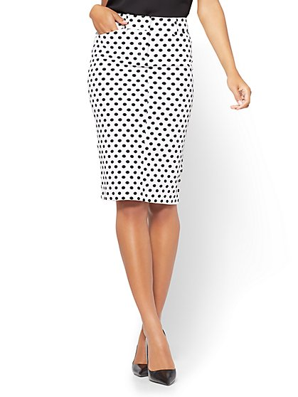 The Audrey Pencil Skirt - White - Polka Dot  - New York & Company