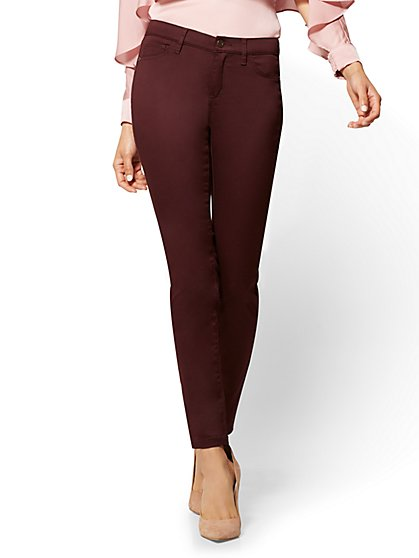 The Crosby Pant - Curvy Slim-Leg - Burgundy - New York & Company