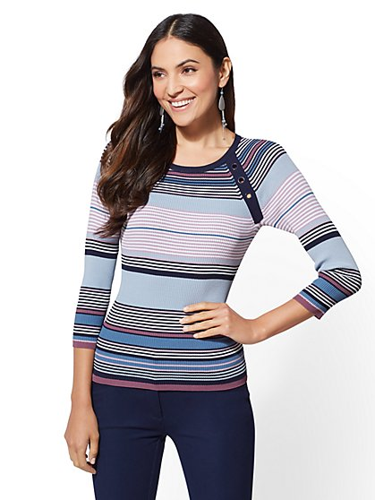 The Emma Grommet-Trim Sweater - New York & Company