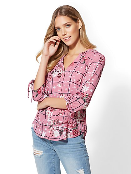 The Meghan Shirt - Check & Floral Print - New York & Company