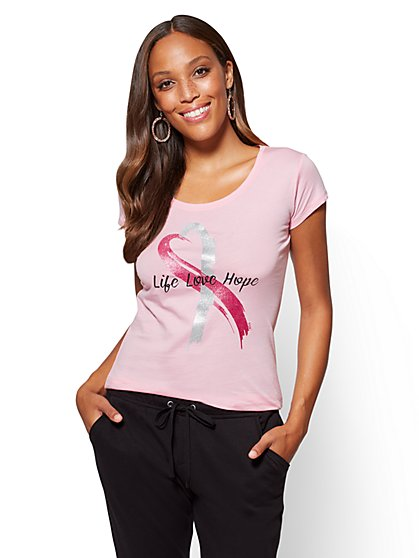 Think Pink - Life Hope Love Tee - New York & Company