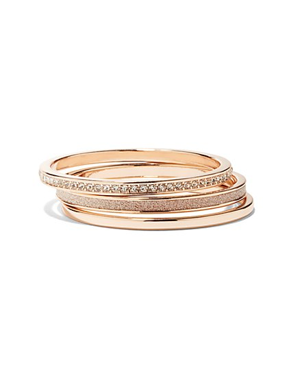 Three-Piece Rose Goldtone Bangle Set  - New York & Company