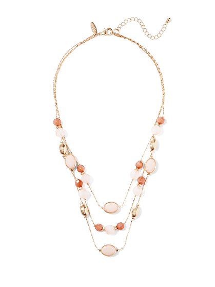 Three-Row Beaded Necklace - New York & Company