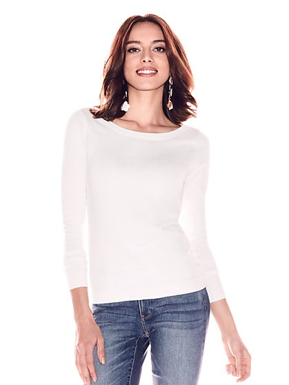 Tie-Back Bateau-Neck Sweater - New York & Company