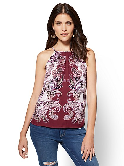 Tie-Back Halter Blouse - Paisley - New York & Company