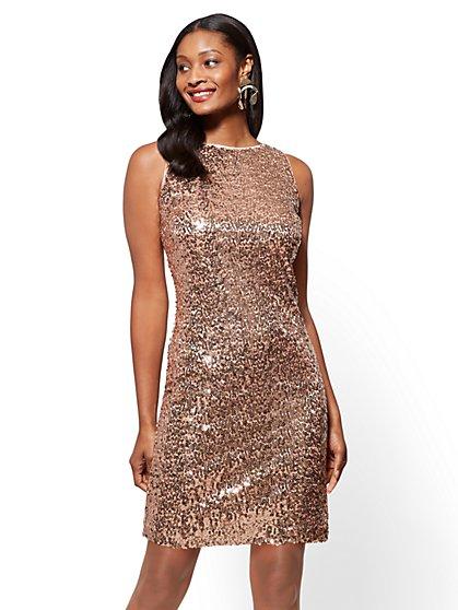 Tie-Back Sequin Shift Dress - New York & Company