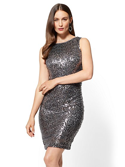 Tie-Back Sequin Shift Dress - New York & Company