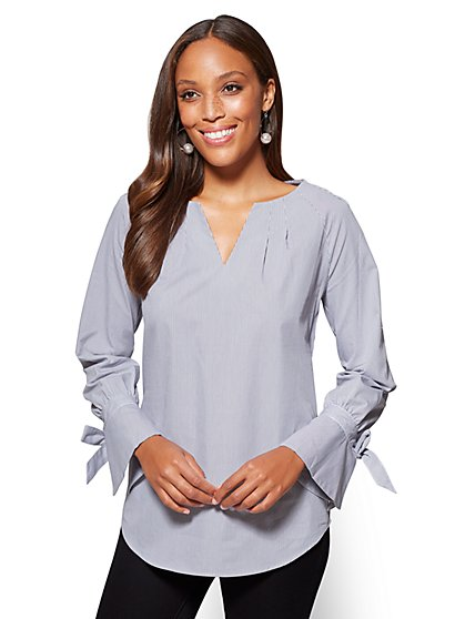 Tie-Cuff Pleated Popover Shirt - Stripe - New York & Company