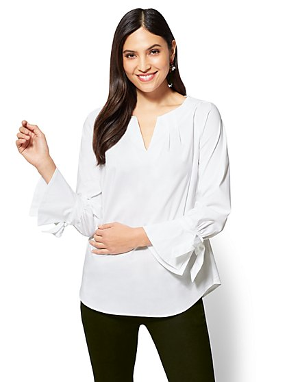 Tie-Cuff Pleated Popover Shirt - New York & Company