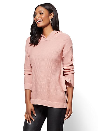 Tie Detail Hooded Tunic Sweater - New York & Company