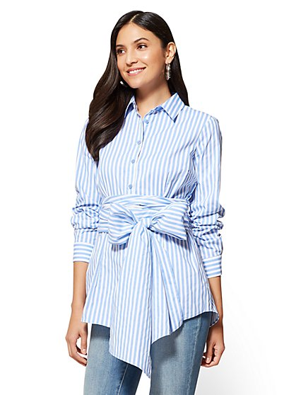 Tie-Detail Poplin Tunic - Stripe - New York & Company