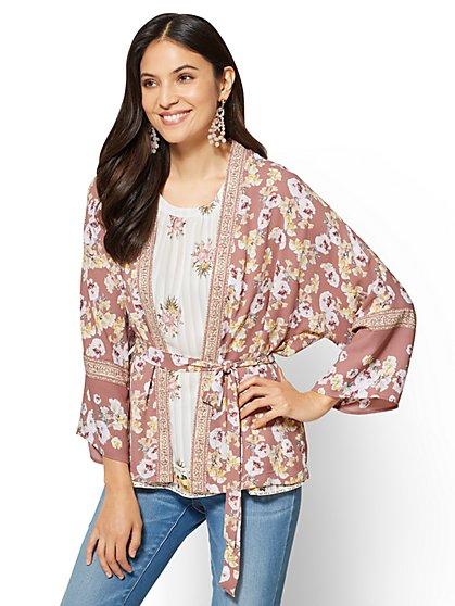 Tie-Front Kimono - Floral - New York & Company