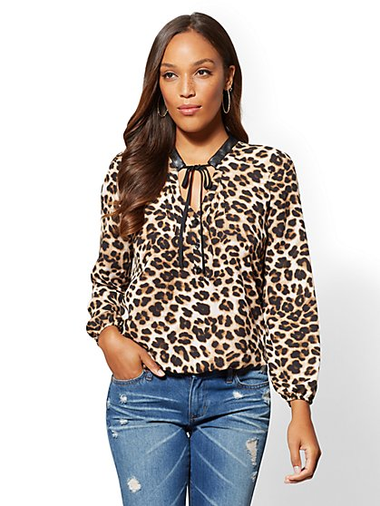 Tie-Front Split-Neck Blouse - New York & Company