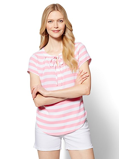 Tie-Front Split-Neck Top - Stripe - New York & Company