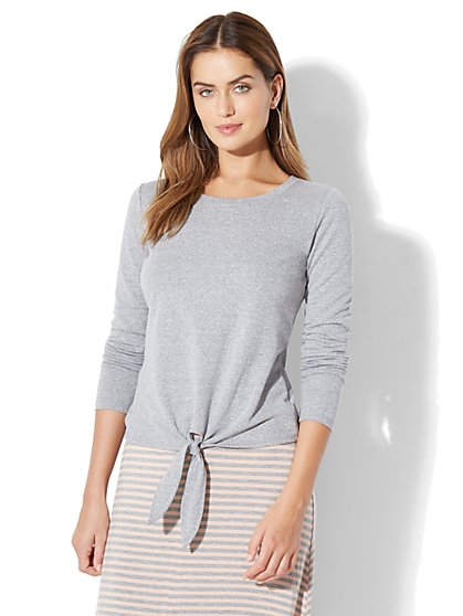 Tie-Front Sweatshirt - Heather Grey - New York & Company