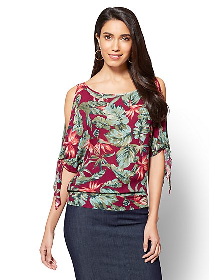 Tie-Sleeve Cold-Shoulder Blouse - Floral Print - New York & Company