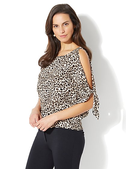 Tie-Sleeve Cold-Shoulder Blouse - Leopard Print - Petite - New York & Company