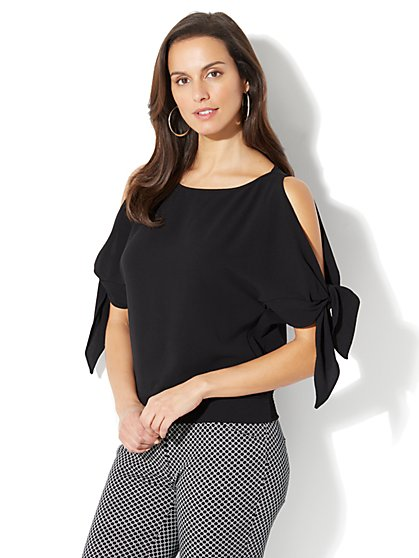 Tie-Sleeve Cold-Shoulder Blouse - Tall - New York & Company