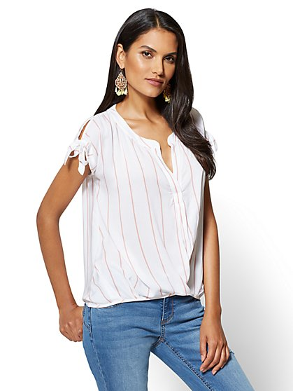 Tie-Sleeve Wrap Blouse - Stripe - New York & Company