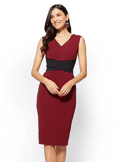 Tie Waist Sleeveless Sheath Dress - New York & Company