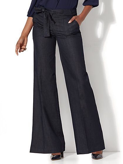 Tie-Waist Wide-Leg Pant - Hidden Blue - New York & Company