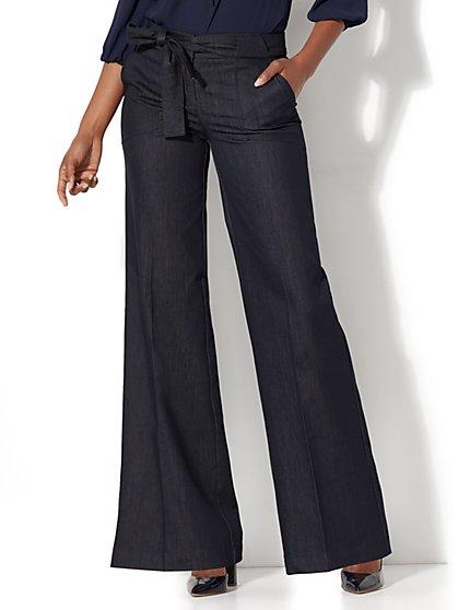 Tie-Waist Wide-Leg Pant - Hidden Blue - New York & Company