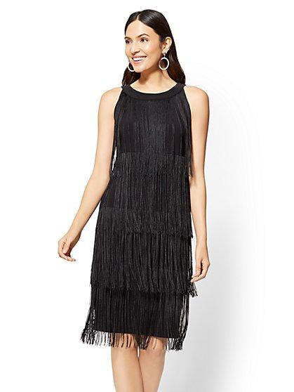 Tiered Fringe Sheath Dress - New York & Company
