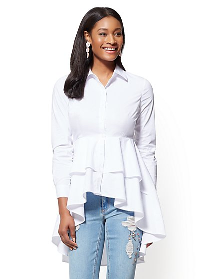 Tiered Hi-Lo Hem Shirt - New York & Company