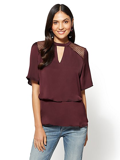 Tiered Keyhole Blouse - New York & Company