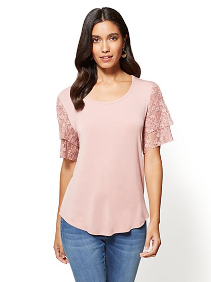 Tiered Lace Sleeves Tee - New York & Company