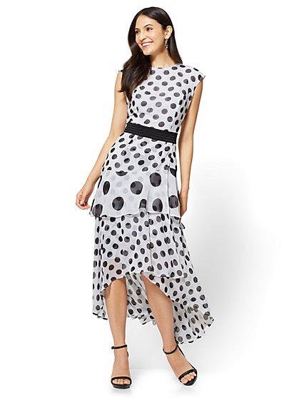 Tiered Maxi Dress - Polka Dot - Petite - New York & Company