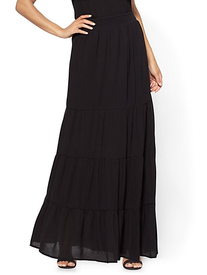 Tiered Maxi Skirt - Black - New York & Company