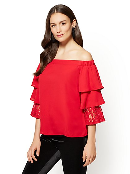 Tiered Sleeve Off-The-Shoulder Blouse - New York & Company