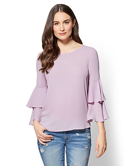 Tiered Statement Sleeve Blouse - New York & Company
