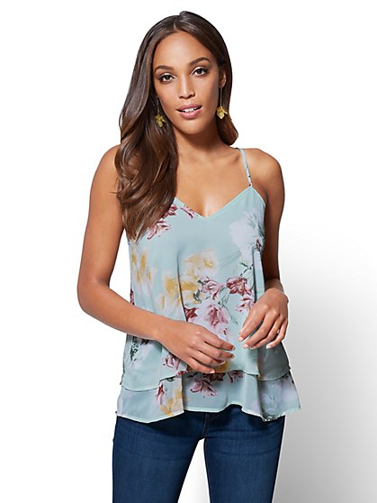 Tiered V-Neck Halter Blouse - Floral  - New York & Company