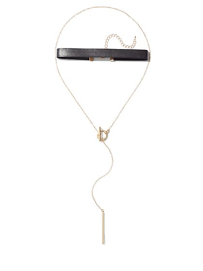 Toggle-Accent Choker Lariat Necklace  - New York & Company
