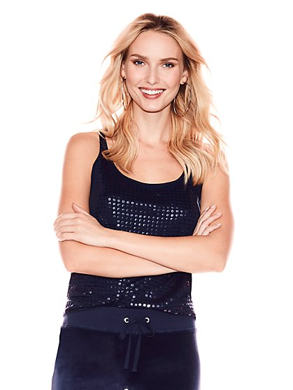 Tonal Sequin Tank Top - New York & Company