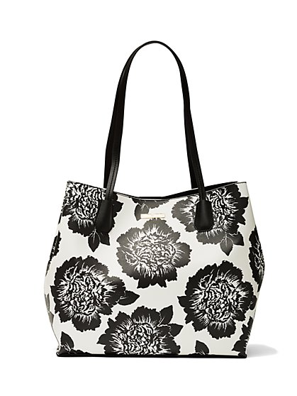 Tote Bag - Black & White Floral  - New York & Company