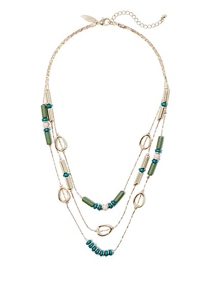 Triple-Row Beaded Goldtone Necklace  - New York & Company