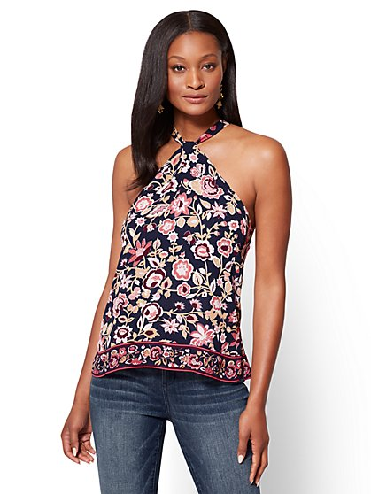 Twist-Front Halter Blouse - Floral  - New York & Company