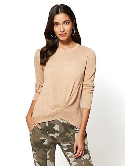 Twist-Front Sweater - Camel - New York & Company