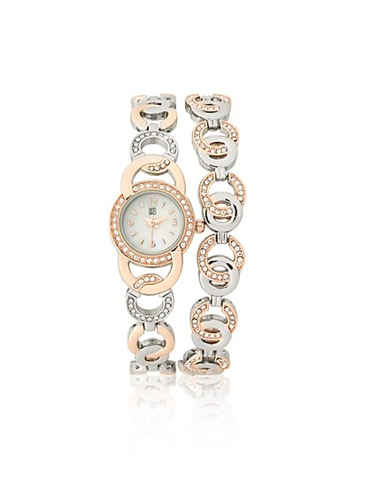 Two-Tone Bracelet Watch  - New York & Company