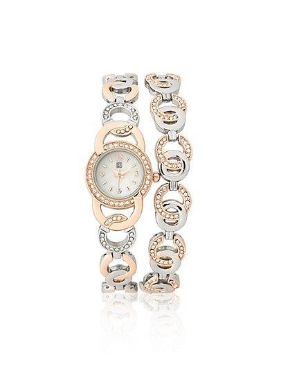 Two-Tone Bracelet Watch  - New York & Company